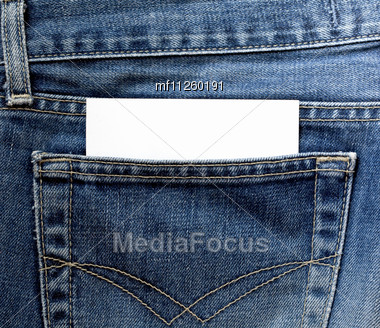 Jeans Pocket With Empty White Card Stock Photo