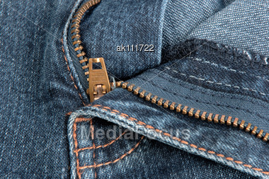 Jeans Zipper. Close-up Stock Photo
