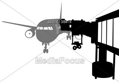 Jet Airplane Docked In Airport. Vector Illustration Stock Photo