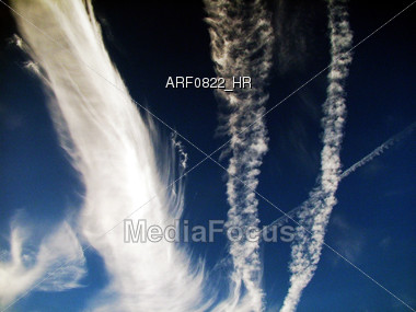 Jet Stream Clouds Stock Photo