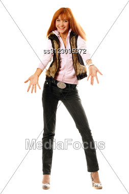 Joyful Red-haired Young Woman Dressed In Casual Clothes Stock Photo