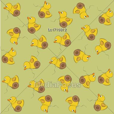 Joyful Vector Seamless Pattern With Duck Toy Stock Photo