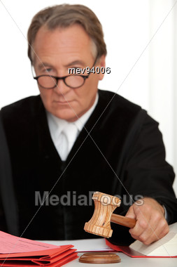 Judge With Gavel Stock Photo