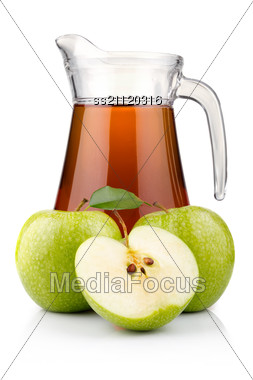 Jug And Glass Of Green Apple Juice With Fruit Stock Photo