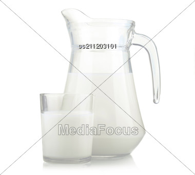 Jug And Glass Of Milk Stock Photo