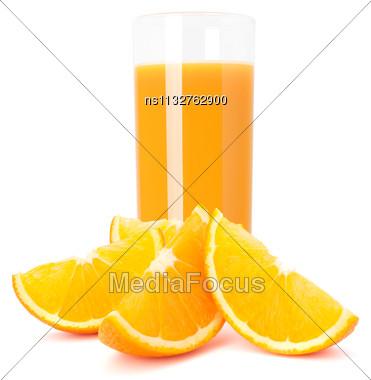 Juice Glass And Orange Fruit Isolated On White Background Cutout Stock Photo