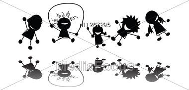 Jumping Children Silhouettes Stock Photo