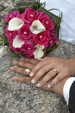 Just Married Couple Showing Their Wedding Rings Stock Photo