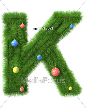K Letter Made Of Christmas Tree Branches Stock Photo