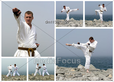 Karate Fight Collage. Made Of Six Photos Stock Photo