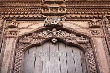 KATMANDU, NEPAL - APRIL 16: Decor On The Temple On Durbar Square On April 16, 2012, Katmandu, Nepal Stock Photo