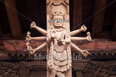 KATMANDU, NEPAL - APRIL 16: Decor On The Temple On Durbar Square On April 16, 2012, Katmandu, Nepal Stock Photo
