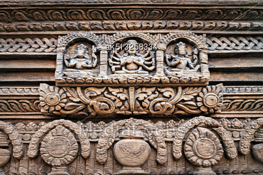 KATMANDU, NEPAL - APRIL 16: Temple Decor On Durbar Square On April 16, 2012 In Katmandu, Nepal. This Pattern Is A Marvel Sample Of Newa Architecture Stock Photo