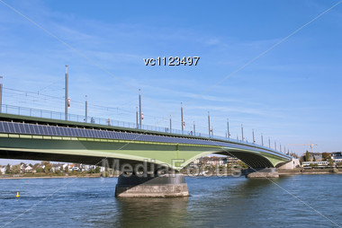 Kennedy Bridge (German: Kennedybrücke) After The Reconstruction, Middle Of Bonn's Three Rhine Bridges, Connecting The City Center Of Bonn With The Town Center Of Beuel Stock Photo