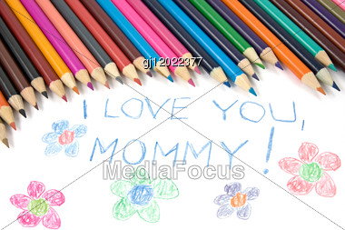 Kid's Mothers Day Drawing And Colorful Pencils Stock Photo