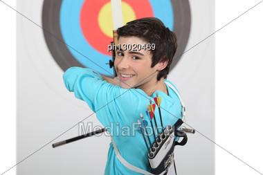 Kid Shouting Arrows. Stock Photo