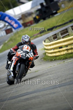 KIEV, UKRAINE, 13 June 2009: Sergey German DEZ, SBK Class Of The Motorbike FPS Racing Team On Ukrainian Motorbike Championship, At The Tchaika Sport Club Track Stock Photo