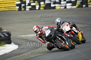 KIEV, UKRAINE, 14 June 2009: Ukrainian Motorbike Championship, At The Tchaika Sport Club Track. Racer Number 46 Kutzak Segre, SS-400 Class. Racer Number 52 Denisenko Vlad, SS-400 Class Stock Photo