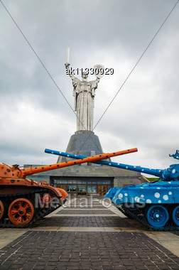 KIEV, UKRAINE - SEPTEMBER 29: Mother Of The Motherland Monument On A Cloudy Day On September 29, 2013 In Kiev, Ukraine. It's A Monumental Statue In Kiev, The Capital Of Ukraine. The Sculpture Is A Par Stock Photo