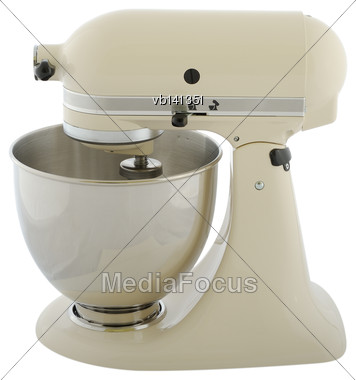 Kitchen Appliances - Beige Planetary Mixer, Isolated On A White Background Stock Photo