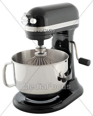 Kitchen Appliances - Black Planetary Mixer, Isolated On A White Background Stock Photo