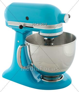 Kitchen Appliances - Blue Planetary Mixer, Isolated On A White Background Stock Photo