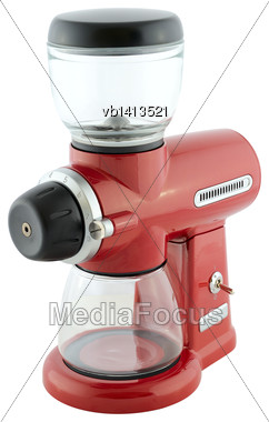 Kitchen Appliances - Burr Coffee Mill, Isolated On A White Background Stock Photo
