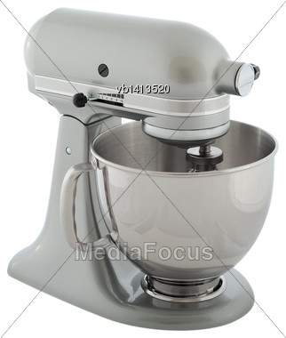 Kitchen Appliances - Gray Planetary Mixer, Isolated On A White Background Stock Photo