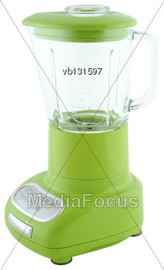 Kitchen Appliances - Green Blender, Isolated On A White Background Stock Photo