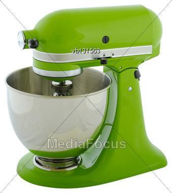 Kitchen Appliances - Green Planetary Mixer, Isolated On A White Background Stock Photo