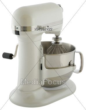 Kitchen Appliances - Planetary Mixer Matt Light Pearl Color, Isolated On A White Background Stock Photo