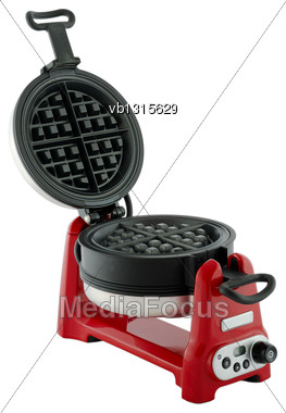 Kitchen Appliances - Red Waffle-iron With A Raised Lid, Isolated On A White Background Stock Photo