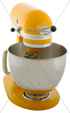 Kitchen Appliances - Yellow Planetary Mixer, Isolated On A White Background Stock Photo
