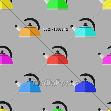 Kitchen Colorful Kettle Seamless Pattern On Grey Background Stock Photo