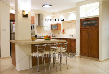 Kitchen Room Moderm Design Stock Photo
