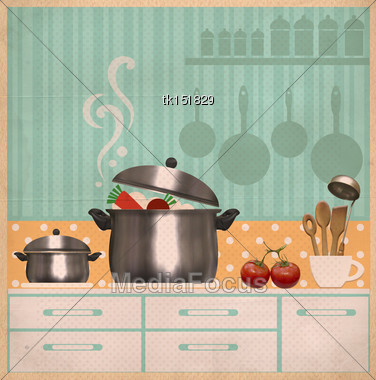 Kitchen Room.Retro Style Collage Background On Old Paper For Design Stock Photo