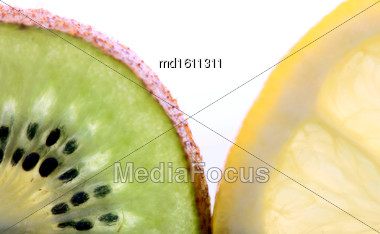 Kiwi Fruit And Lemon Slice Close Up Macro Stock Photo
