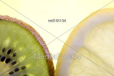 Kiwi Fruit And Lemon Slice Close Up Macro Stock Photo
