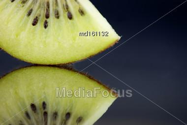 Kiwi Fruit Macro Studio Shot Close Up Green Stock Photo