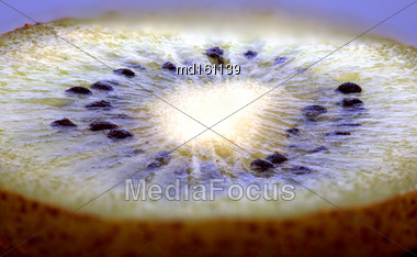 Kiwi Fruit Macro Studio Shot Close Up Green Stock Photo
