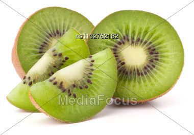 Kiwi Fruit Sliced Segments Isolated On White Background Cutout Stock Photo