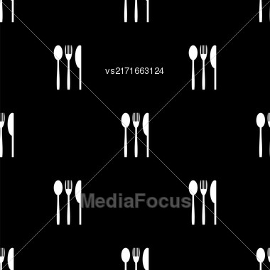 Knife Fork Spoon Silhouettes Seamless Pattern On Black Background Stock Photo