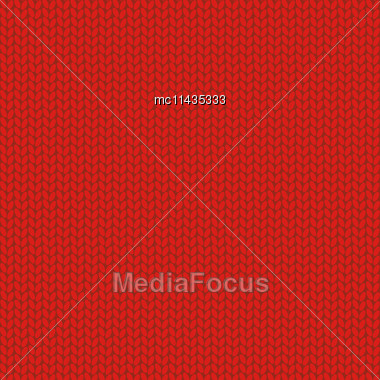 Knitted Wool Red Background, Vector Illustration Stock Photo