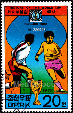 "KOREA - CIRCA 1978: A Postage Stamp Shows The Soccer Players With Inscription ""England 1966"", Series ""History Of World Cup"", Circa 1978 Stock Photo"
