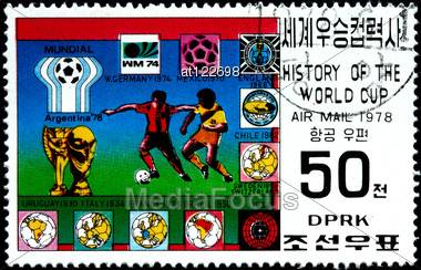 "KOREA - CIRCA 1978: A Postage Stamp Shows The Soccer Players With Inscription ""Argentina 1978"", Series ""History Of World Cup"", Circa 1978 Stock Photo"