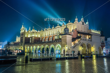 Krakow Old City At Night. Market Square At Night Stock Photo