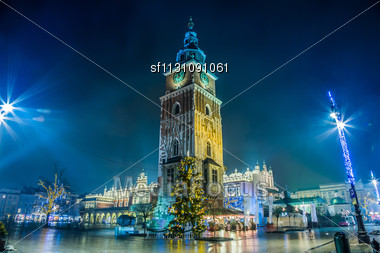 KRAKOW, POLAND - DECEMBER 18: View Of The Main Square - Historical Center Of Krakow, December 18, 2012 In Krakow, Poland. This Year The City Was Visited By 8.1 Million Tourists, Which Is The Highest L Stock Photo