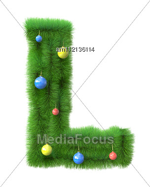 L Letter Made Of Christmas Tree Branches Stock Photo