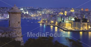 La Valetta at Night, Malta Stock Photo
