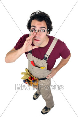 Laborer In Dungarees On White Background Stock Photo